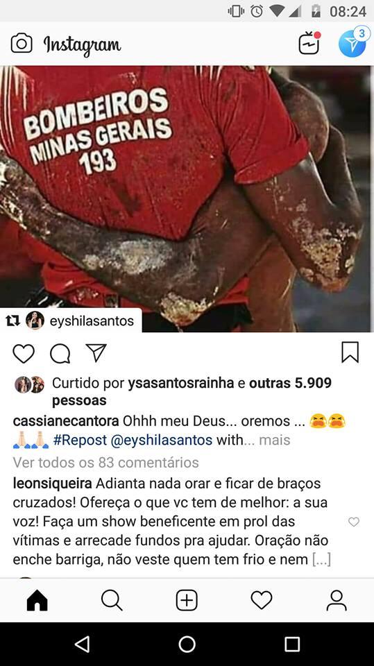 Comentário no post de Cassiane