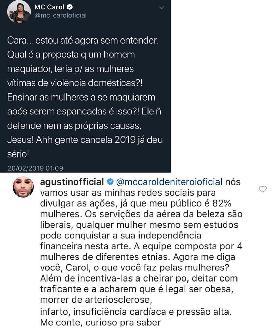 Agustin rebate ao comentário da funkeira (REPRODUÇÃO)