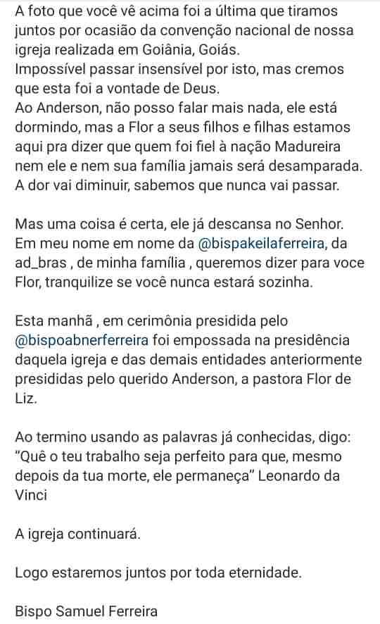 Nota do Bispo Samuel Ferreira