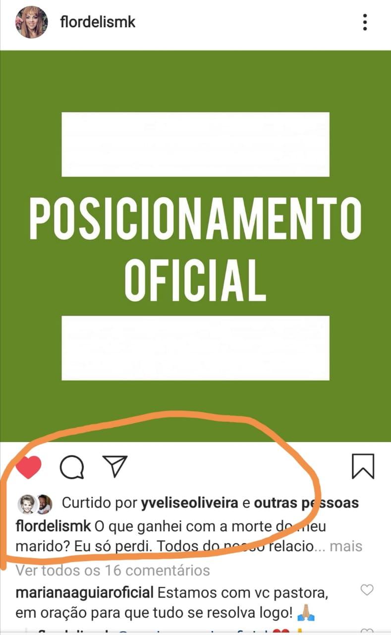 Postagem de Flordelis no Instagram