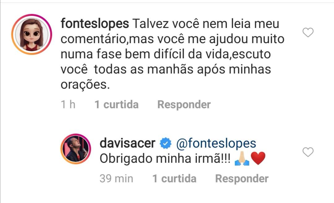 Davi Sacer responde comentário de seguidora