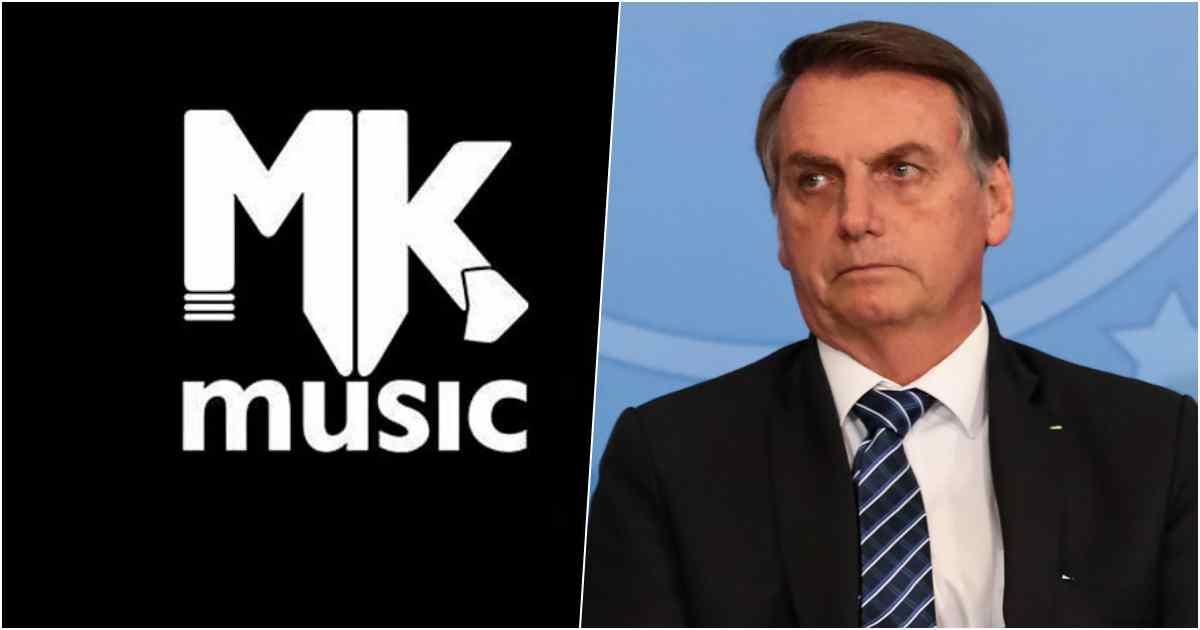 Logo da MK e foto do presidente Jair Bolsonaro