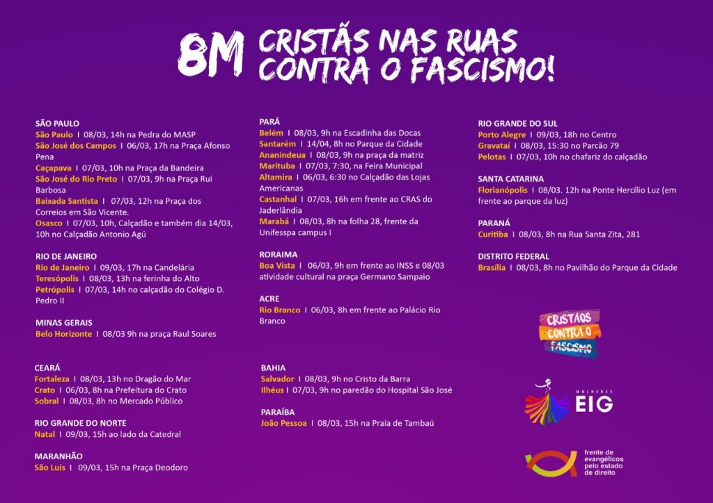 Feministas evangélicas irão protestar contra Bolsonaro na marcha do dia 8 de março
